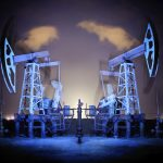 Oil Rigs at night.